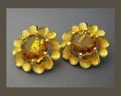 Judy Lee Rhinestone Earrings, Faux Topaz Earrings, Rhinestone Flower Earrings, Statement Earrings, Gold Earrings, Large Earrings