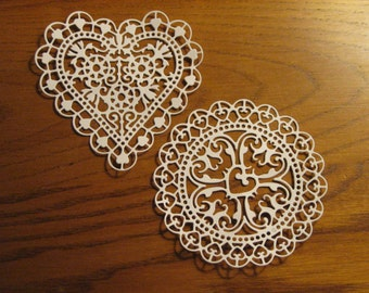 8 Heart and Round Doily Die Cuts: White Vanilla Stamping supplies Handmade card