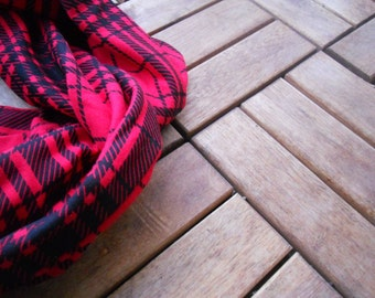 Red & Black Plaid Infinity Scarf/ Red Infinity Scarf
