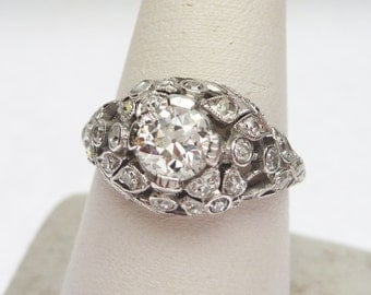 Plat 75 pt European Diamond and 33 pt Sides Ring 1900