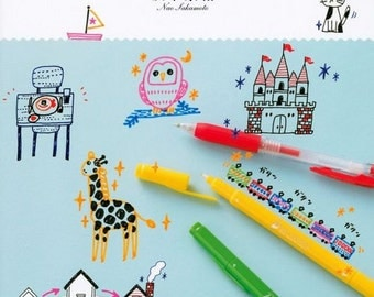 Easy Illustration of Ball-Point Pen, Colored Pen, Japanese Drawing Book, Doodle, Art Supply, Nao Sakamoto, Kawaii Design, Art Supply, B1477