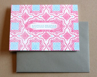 Muchas Gracias QTY/6 Letterpress Printed Thank You cards With Grey Envelopes