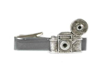 Vintage Camera Tie Clip Inlaid in Hand Painted Gray Enamel Flash Photography Tie Bar Accent Art Deco Vintage Style Custom Colors Available