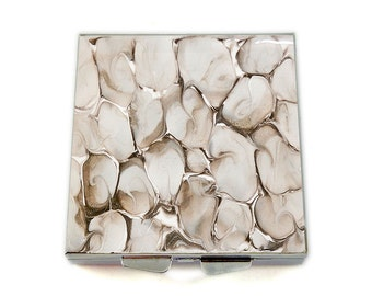 Square Pill Box with 4 Compartments Taupe and White Hand Painted Square Pillbox Quartz Inspired Custom Colors and Personalized Options