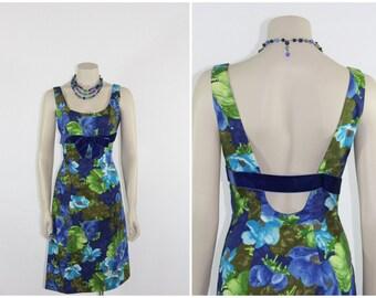 1960s ESTEVEZ Party Dress - Vintage Short Bold Blue Green Floral Low Back Cocktail Party Dress - 36 / 26 / 38