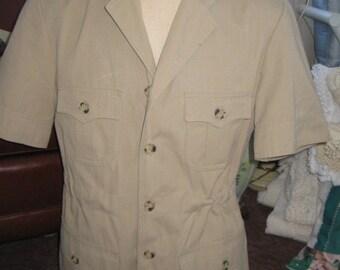 Vintage Safari Coat Man's Jacket Khaki Jacket