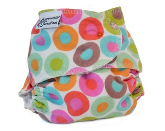 Fitted Cloth Diaper, OS, Flannel - Retro dots