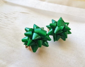 SALE Clip on Green Party Bow earrings for non pierced ears or jazz up shoes or hair!