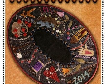 Everyday Crazy Table Mat Wool Applique Primitive Gatherings Pattern