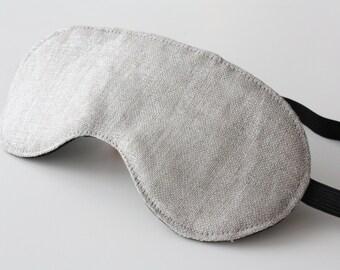 Metallic Silver Linen Sleeping Eye Mask - Sleep Mask - Travel Accessory - Valentine Gift