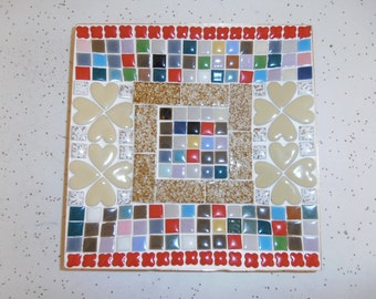1960s vintage mosaic plate