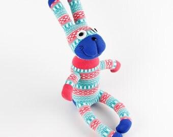 Free Shipping Handmade Orange Sock Rabbit Bunny Stuffed Animal Doll Baby Toys