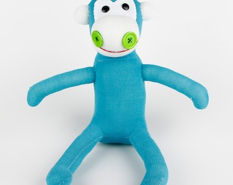 Free Shipping  Handmade Blue Sock Monkey Stuffed Animal Doll Baby Toys