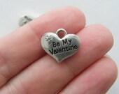 BULK 20 Be my valentine pendants antique silver tone M427