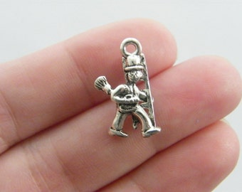 4 Chimney sweep charms antique silver tone P36