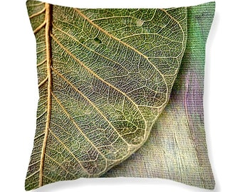 SKELETAL LEAF lumbar or square - decorative throw pillow for indoor or outdoor decor, pillow cover, scatter cushion, cushion cover