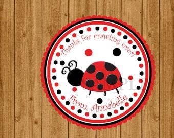 Ladybug 1st Birthday Favor Tags, Red and Black Tags, Ladybug Baby Shower