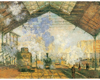 Wooden jigsaw puzzle. SAINT-LAZARE. Claude Monet. Impressionist. Impressionism. Wood, handcut, handcrafted, collectible. Bella Puzzles.