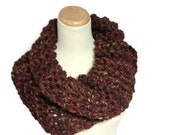 Sale Chunky Cowl, Chocolate Cowl, Outlander Inspired Cowl,Gift For Her, Hand Knit Cowl, Brown Cowl Scarf,  Neck Warmer, Scarf,  Winter Scarf