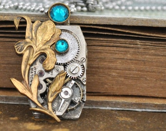 steampunk necklace LOVE TAKES TIME vintage sliver tone mechanical watch movement with iris flower and blue zircon Swarovski rhinestone