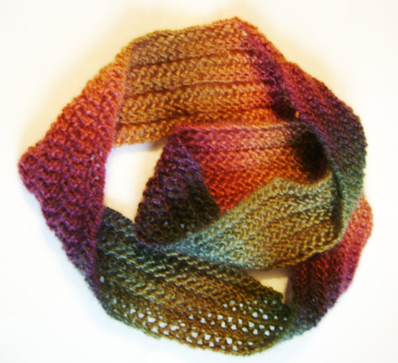 Multi Colored Scarf Knitting Pattern : Infinity Scarf Multi-colored Knit Scarf by KingsCritterCreation