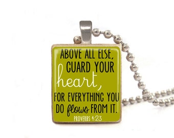 Green Above All Else Guard Your Heart Necklace | Proverbs 4:23 Necklace Pendant | Proverbs Necklace | Proverbs Jewelry | Gifts for Her