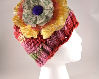 Adult size rainbow colored hat with fabric flower, women's hat, bulky yarn, colorful, beanie hat