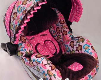 Little Monkeys Pink and Brown/Brown Minky Dot/Pink Polka Dot Infant car seat cover 5 piece set