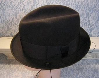 Stetson Hat Mens Twenty Five Black Fedora with Trolley Cord & Box, Vintage 1960's Mid Century, Original Box, Size 7 1/8, Vintage Mens Hat