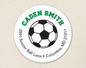Soccer Address Labels / Soccer Ball Address Labels - Sheet of 24 - Choose green, red, blue or pink