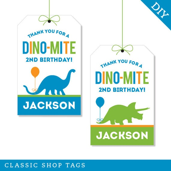 Dinosaur Party Personalized DIY Printable Favor Tags
