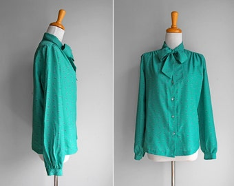 FINAL SALE Vintage Teal Floral Bowtie Blouse- Green Bowtie Bow Button Up Long Sleeve 1980's Work Blouse- Size Medium M