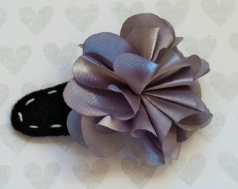 Silver Flower 2 Inch  Felt Hair Clip