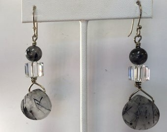 Hand Forged Sterling Dangles w/Agate Stones and Crysta Cubes