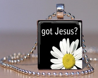 Black and white with Daisy Got Jesus Christian Scrabble Tile Pendant Charm Necklace FREE CHAIN!