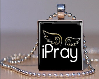 Black and White I Pray Christian Scrabble Tile Pendant Charm Necklace FREE CHAIN!
