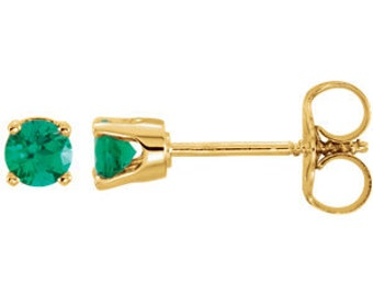 14kt Gold Birthstone Earrings May Birthstone-Chatham Emerald Studs