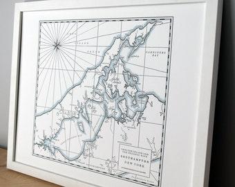 Southampton, Sag Harbor, Shelter Island Long Island New York, Letterpress Printed Map (Dark Grey)
