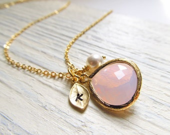 Opal Necklace, Gold October Birthstone Necklace, Personalized Leaf with Initial, Jewel, and Pearl, Gold Opal Jewelry, October Birthday Gift