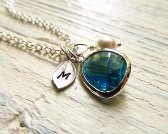 Blue Topaz Necklace, December Birthstone Necklace, Personalized Birthstone Jewelry, December Birthday Jewelry, Blue Zircon Necklace