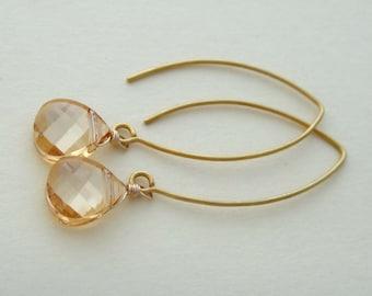 Golden shadow Swarovski long earrings, Swarovski crystal Bali leaf long earrings. golden shadow vermeil earrings, gold elongated earrings