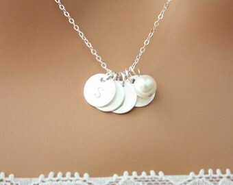 Four initial discs and  freshwater pearl Necklace -  Sterling silver - Monogram necklace , with options to choose initial Disc, perfect gift