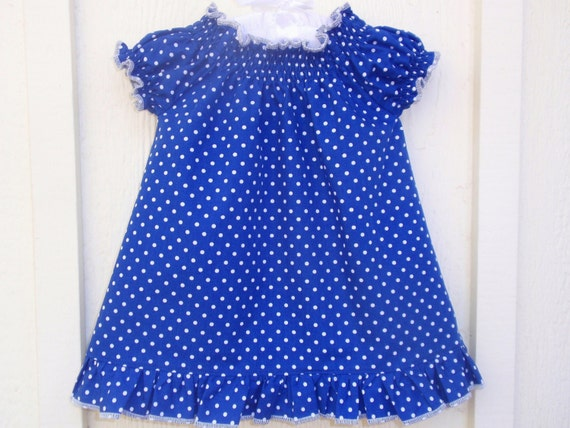 Baby Girl Peasant Dress in Royal Blue and White Polka Dot