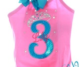 Custom Boutique TrendyGirlz Exclusive Fancy Rhinestone Tiara Birthday Gymnastics Letter Number Over The Top Leotard