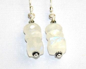 Rainbow Moonstone Earrings, White Earrings, Cube Stone, Wedding Jewelry. Sterling Silver