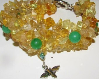 Natural CITRINE bracelet with green jade sterling plated clasp for success and prosperity