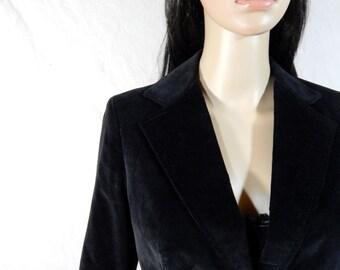 BLACK Crushed Velvet BLAZER Jacket Size 9/10