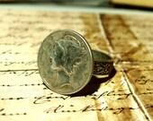 Mercury  dime ring, vintage silver dime Floral adjustable ring base