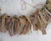 Shabby Rustic Primitive Wool Jute and Natural Burlap Rag Garland