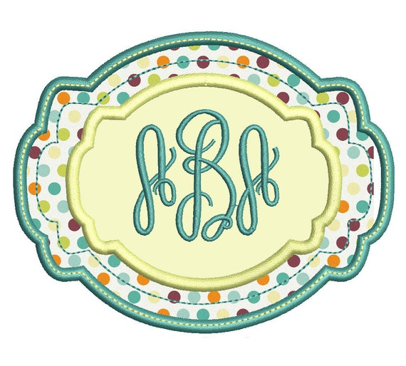Monogram frame machine embroidery design style by